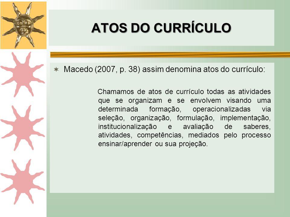 ATOS DO CURRÍCULO  Macedo (2007, p. 38) assim denomina atos do currículo: Chamamos de atos de currículo todas as atividades que se organizam e se env