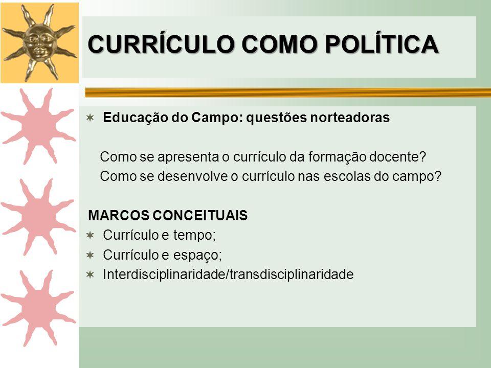 CURRÍCULO COMO POLÍTICA  Educação do Campo: questões norteadoras Como se apresenta o currículo da formação docente? Como se desenvolve o currículo na