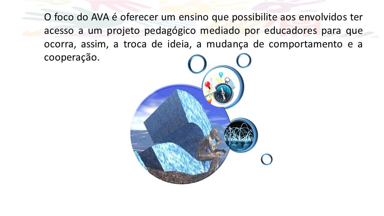 O foco do AVA é oferecer um ensino que possibilite aos envolvidos ter acesso a um projeto pedagógico mediado por educadores para que ocorra, assim, a troca de ideia, a mudança de comportamento e a cooperação.