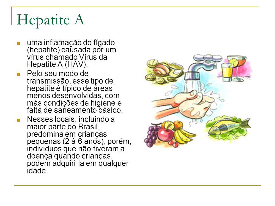 Hepatite A uma inflamação do fígado (hepatite) causada por um vírus chamado Vírus da Hepatite A (HAV). Pelo seu modo de transmissão, esse tipo de hepa