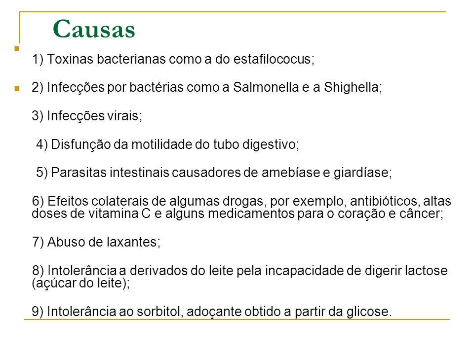 Causas 1) Toxinas bacterianas como a do estafilococus; 2) Infecções por bactérias como a Salmonella e a Shighella; 3) Infecções virais; 4) Disfunção d
