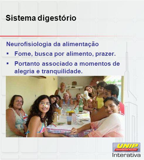 Sistema digestório Neurofisiologia da alimentação  Fome, busca por alimento, prazer.  Portanto associado a momentos de alegria e tranquilidade.