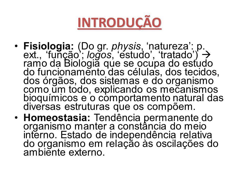 INTRODUÇÃO Fisiologia: (Do gr. physis, 'natureza': p. ext., 'função'; logos, 'estudo', 'tratado')  ramo da Biologia que se ocupa do estudo do funcion