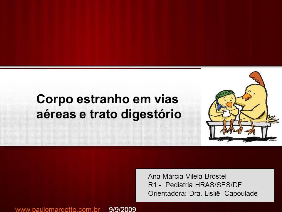 Your Logo Corpo estranho em vias aéreas e trato digestório Ana Márcia Vilela Brostel R1 - Pediatria HRAS/SES/DF Orientadora: Dra. Lisliê Capoulade www