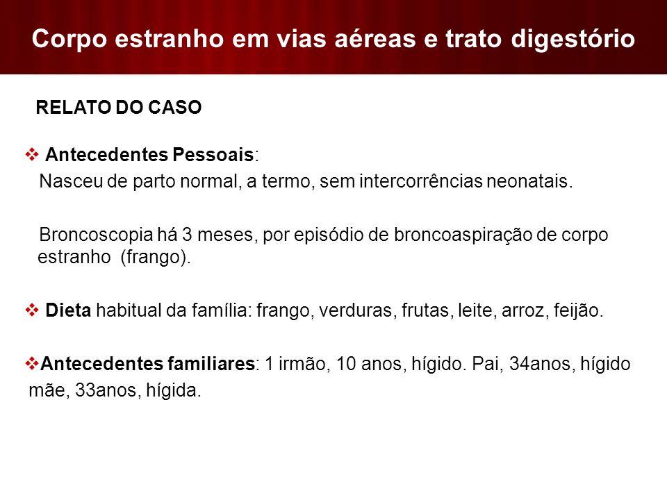 Corpo estranho em vias aéreas e trato digestório  Aspiração de corpo estranho por menores de 15 anos: experiência de um centro de referência do Brasil; J Bras Pneumol.