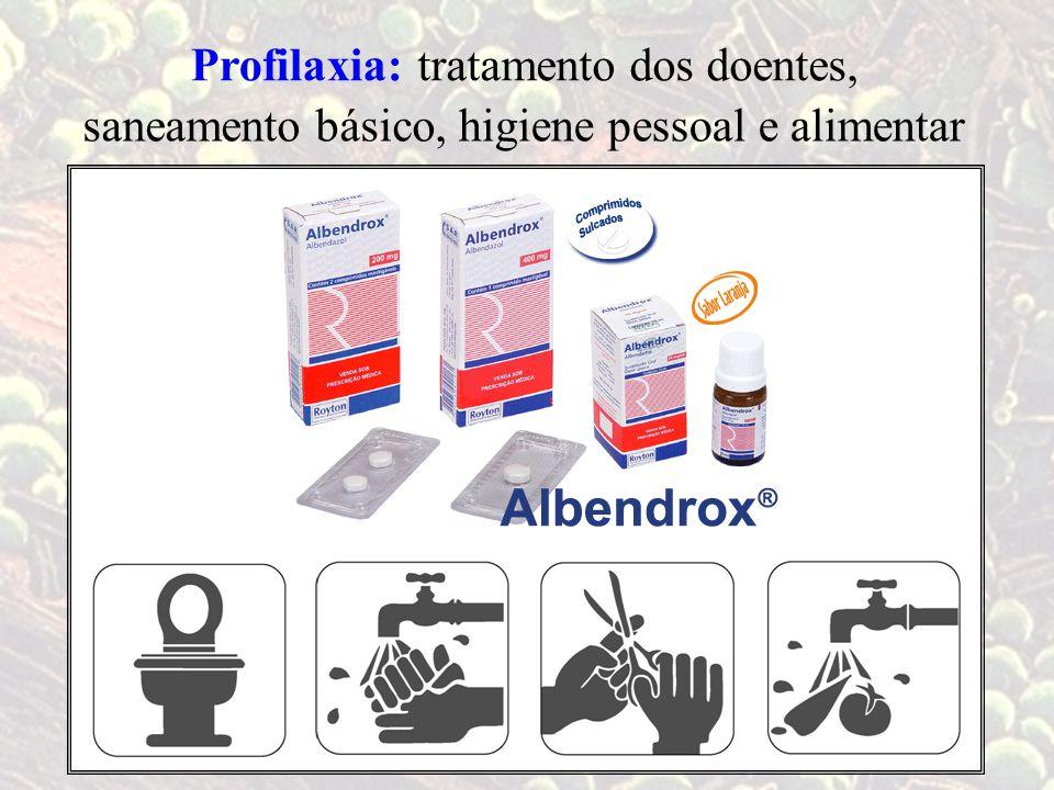 tratamento dos doentes, Profilaxia: saneamento básico,higiene pessoal e alimentar