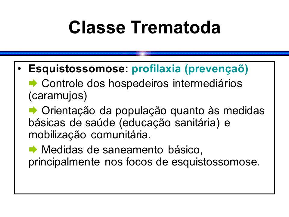 Classe Trematoda Esquistossomose: profilaxia (prevençaõ)  Controle dos hospedeiros intermediários (caramujos)  Orientação da população quanto às med
