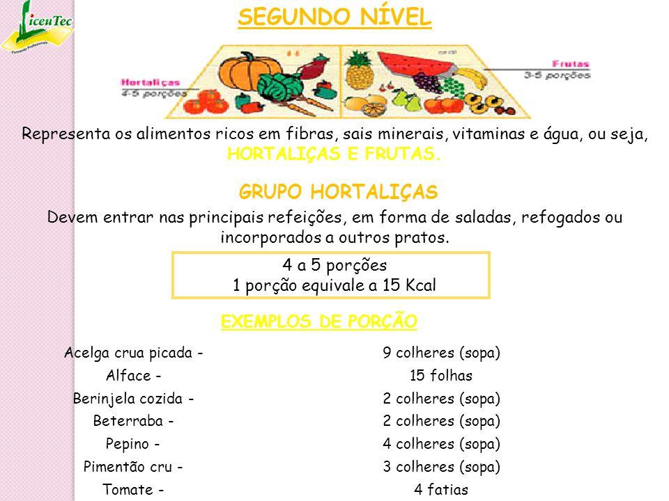 SEGUNDO NÍVEL Representa os alimentos ricos em fibras, sais minerais, vitaminas e água, ou seja, HORTALIÇAS E FRUTAS. 4 a 5 porções 1 porção equivale