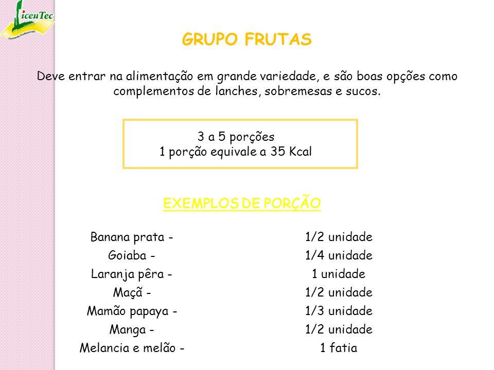 GRUPO FRUTAS 3 a 5 porções 1 porção equivale a 35 Kcal Banana prata -1/2 unidade Goiaba -1/4 unidade Laranja pêra -1 unidade Maçã -1/2 unidade Mamão p