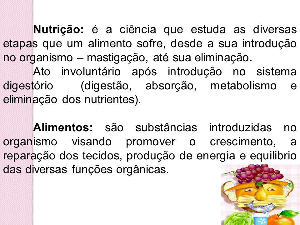 Nutrição: é a ciência que estuda as diversas etapas que um alimento sofre, desde a sua introdução no organismo – mastigação, até sua eliminação. Ato i