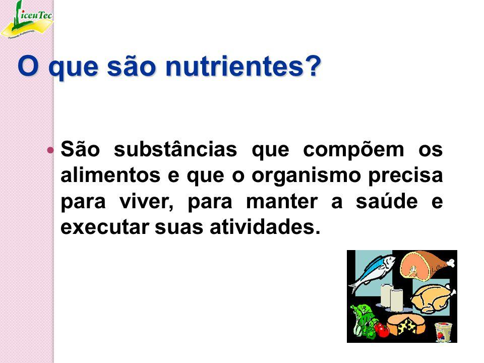 Nutrientes: fornecem energia para trabalhar, praticar esportes, para o funcionamento dos órgãos; materiais para promover crescimento, cicatrização de feridas, substituição de células envelhecidas,...