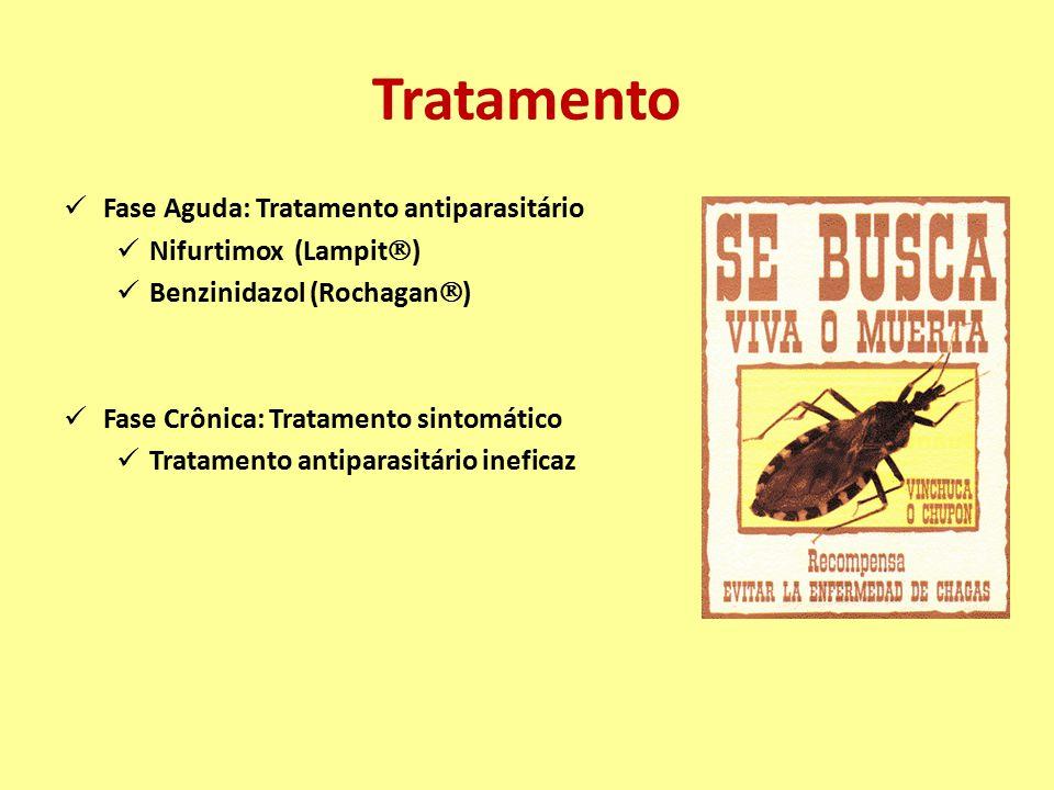 Tratamento Fase Aguda: Tratamento antiparasitário Nifurtimox (Lampit  ) Benzinidazol (Rochagan  ) Fase Crônica: Tratamento sintomático Tratamento an