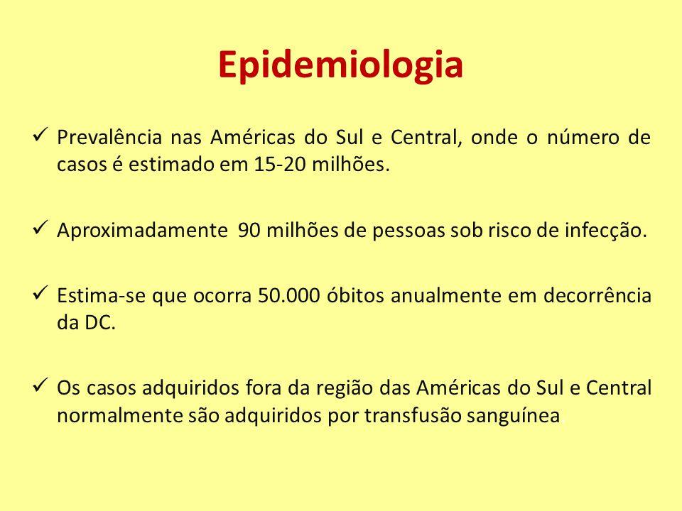 Epidemiologia Prevalência nas Américas do Sul e Central, onde o número de casos é estimado em 15-20 milhões. Aproximadamente 90 milhões de pessoas sob