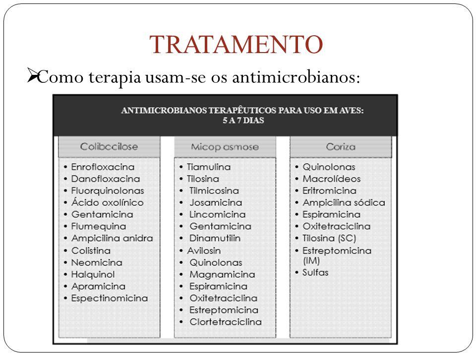  Como terapia usam-se os antimicrobianos: TRATAMENTO