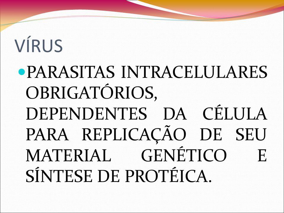 VÍRUS PARASITAS INTRACELULARES OBRIGATÓRIOS, DEPENDENTES DA CÉLULA PARA REPLICAÇÃO DE SEU MATERIAL GENÉTICO E SÍNTESE DE PROTÉICA.