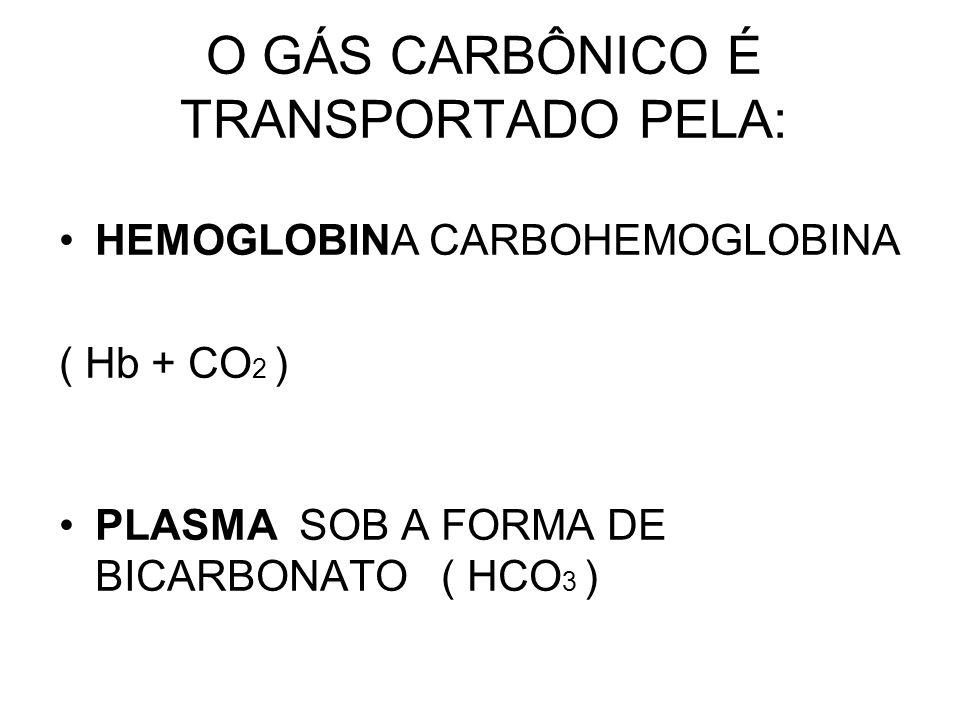 O GÁS CARBÔNICO É TRANSPORTADO PELA: HEMOGLOBINA CARBOHEMOGLOBINA ( Hb + CO 2 ) PLASMA SOB A FORMA DE BICARBONATO ( HCO 3 )