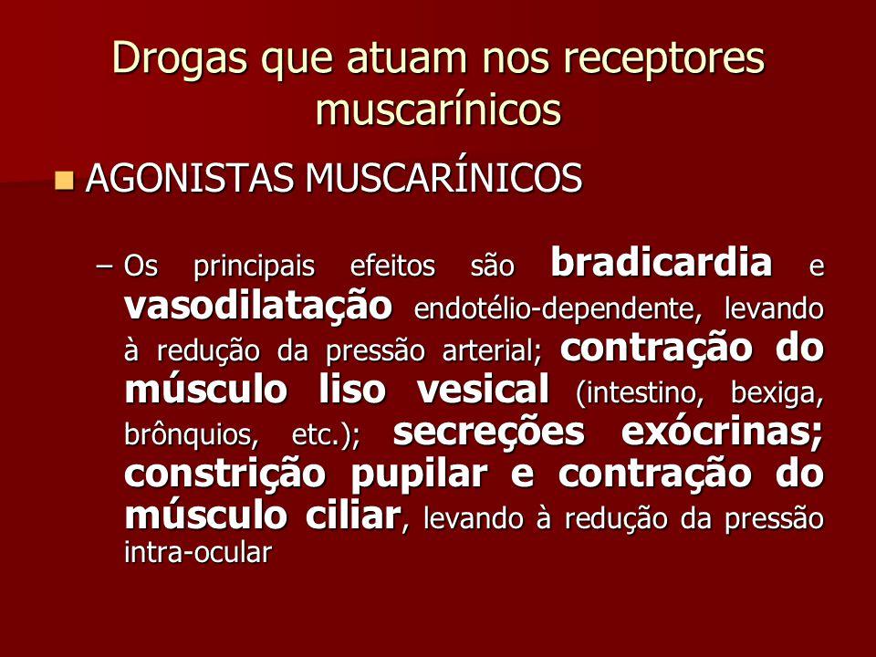 Drogas que atuam nos receptores muscarínicos AGONISTAS MUSCARÍNICOS AGONISTAS MUSCARÍNICOS –Os principais efeitos são bradicardia e vasodilatação endo