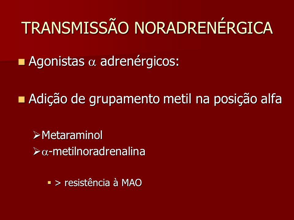 TRANSMISSÃO NORADRENÉRGICA Agonistas  adrenérgicos: Agonistas  adrenérgicos: Adição de grupamento metil na posição alfa Adição de grupamento metil n