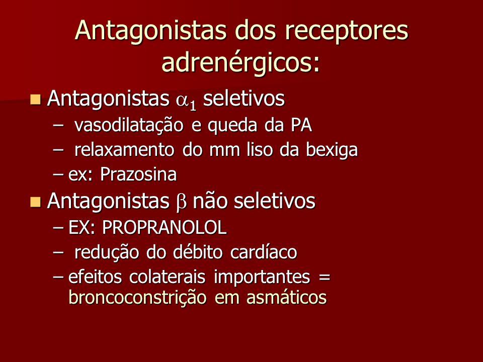 Antagonistas dos receptores adrenérgicos: Antagonistas  1 seletivos Antagonistas  1 seletivos – vasodilatação e queda da PA – relaxamento do mm liso