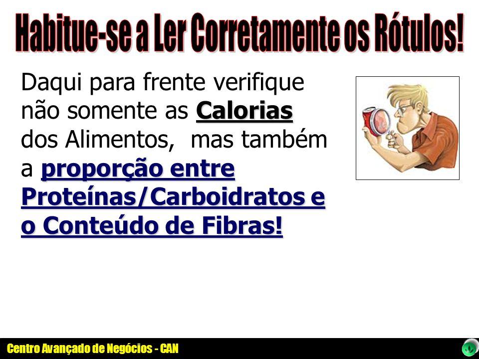 Centro Avançado de Negócios - CAN Calorias proporção entre Proteínas/Carboidratos e o Conteúdo de Fibras! Daqui para frente verifique não somente as C