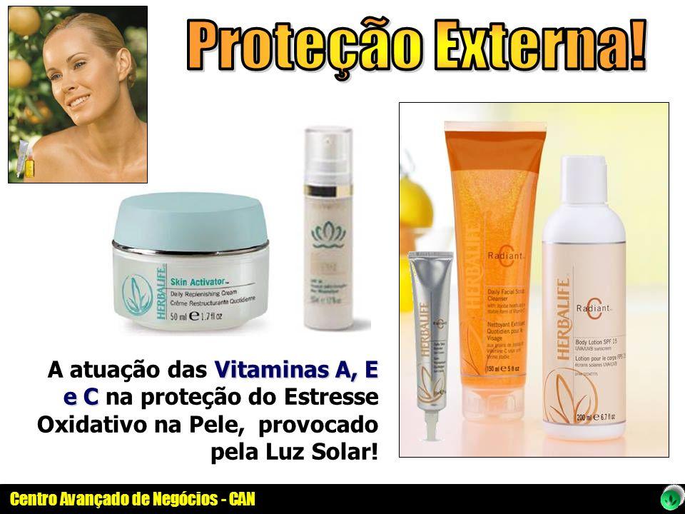 Centro Avançado de Negócios - CAN Vitaminas A, E e C A atuação das Vitaminas A, E e C na proteção do Estresse Oxidativo na Pele, provocado pela Luz So