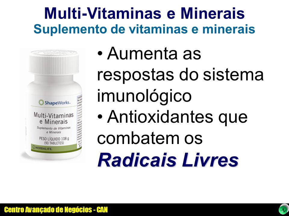 Centro Avançado de Negócios - CAN Multi-Vitaminas e Minerais Suplemento de vitaminas e minerais Aumenta as respostas do sistema imunológico Radicais L