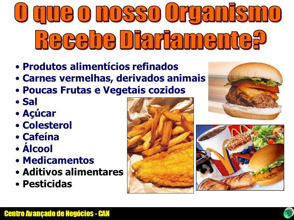 Centro Avançado de Negócios - CAN Produtos alimentícios refinados Carnes vermelhas, derivados animais Poucas Frutas e Vegetais cozidos Sal Açúcar Cole