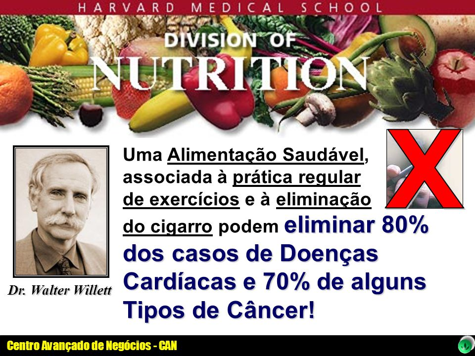 Centro Avançado de Negócios - CAN eliminar 80% dos casos de Doenças Cardíacas e 70% de alguns Tipos de Câncer! Uma Alimentação Saudável, associada à p