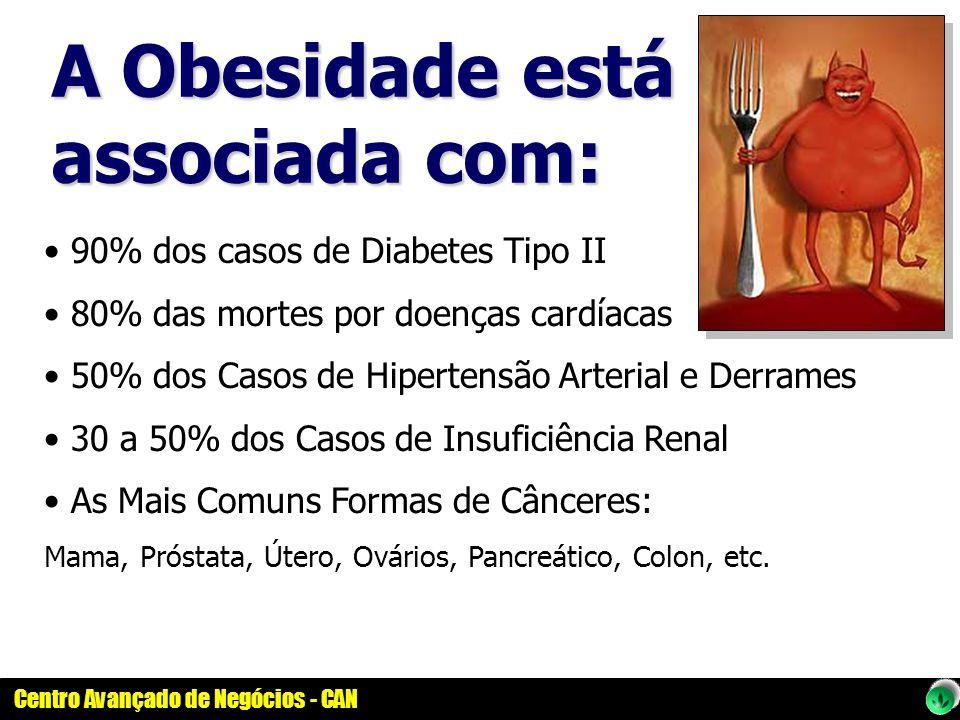 Centro Avançado de Negócios - CAN 90% dos casos de Diabetes Tipo II 80% das mortes por doenças cardíacas 50% dos Casos de Hipertensão Arterial e Derra