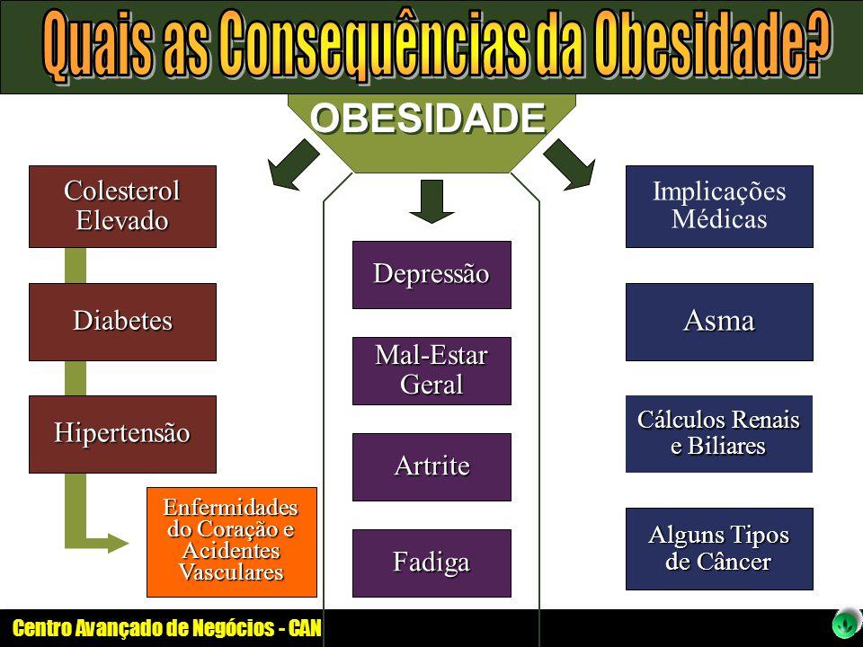 Centro Avançado de Negócios - CAN OBESIDADE Colesterol Elevado Diabetes Hipertensão Depressão Mal-Estar Geral Artrite Fadiga Implicações Médicas Asma