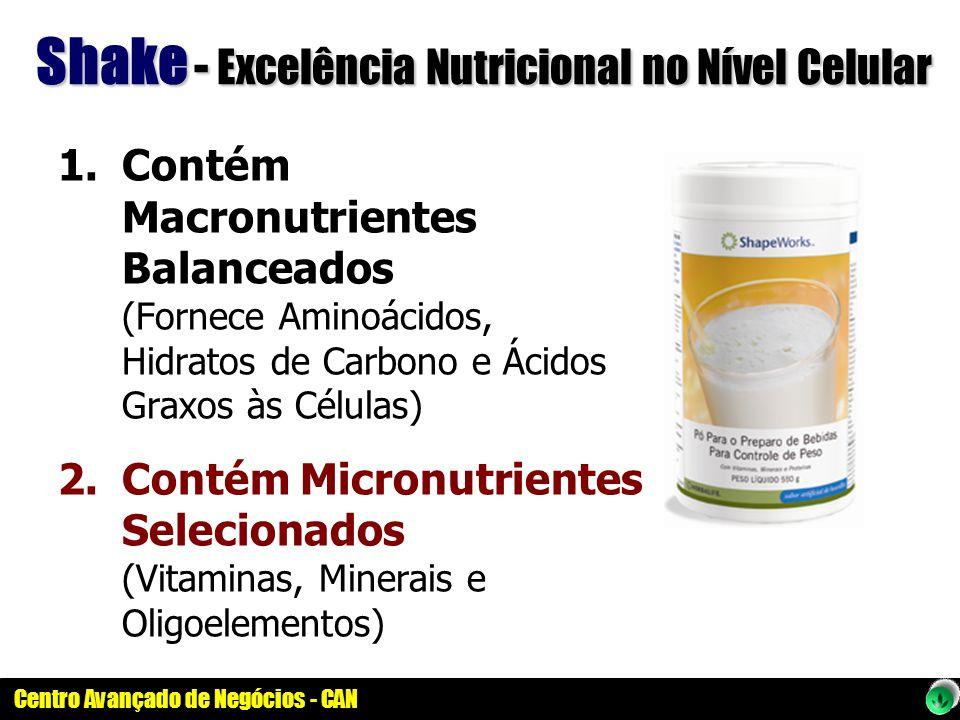Centro Avançado de Negócios - CAN Shake - Excelência Nutricional no Nível Celular 1.Contém Macronutrientes Balanceados (Fornece Aminoácidos, Hidratos