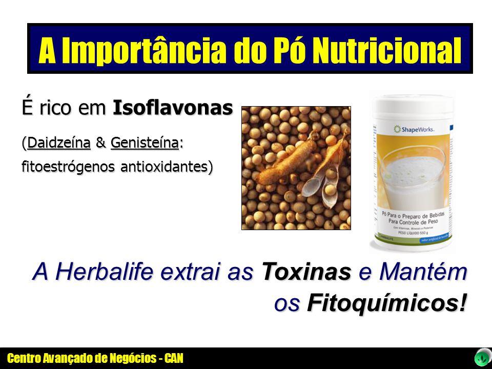 Centro Avançado de Negócios - CAN É rico em Isoflavonas (Daidzeína & Genisteína: fitoestrógenos antioxidantes) A Herbalife extrai as Toxinas e Mantém