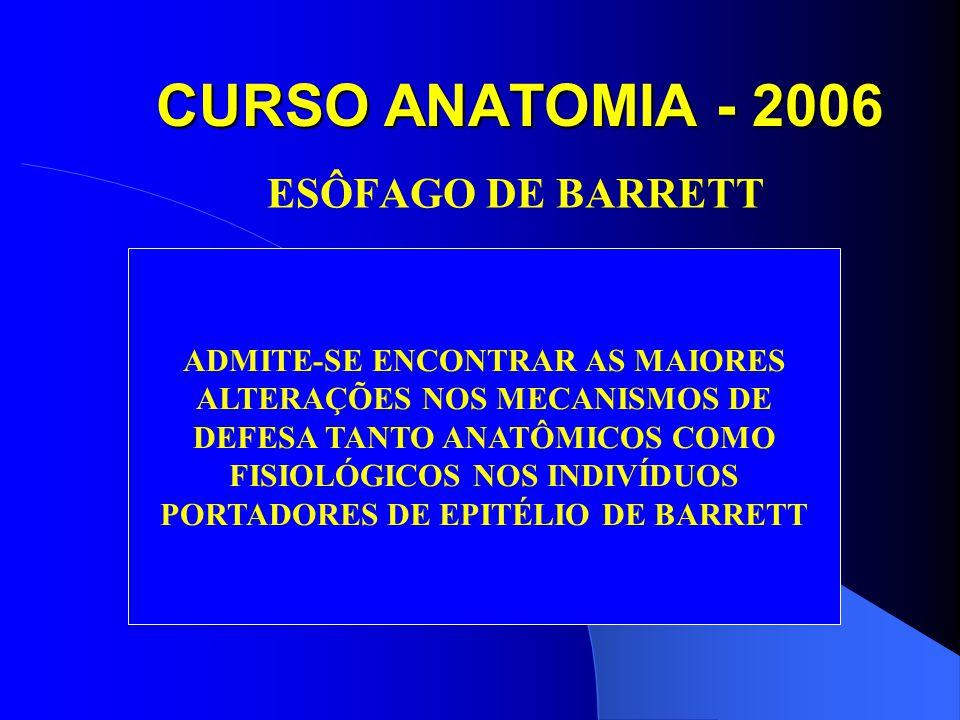 CURSO ANATOMIA - 2006 ESÔFAGO DE BARRETT ADMITE-SE ENCONTRAR AS MAIORES ALTERAÇÕES NOS MECANISMOS DE DEFESA TANTO ANATÔMICOS COMO FISIOLÓGICOS NOS INDIVÍDUOS PORTADORES DE EPITÉLIO DE BARRETT