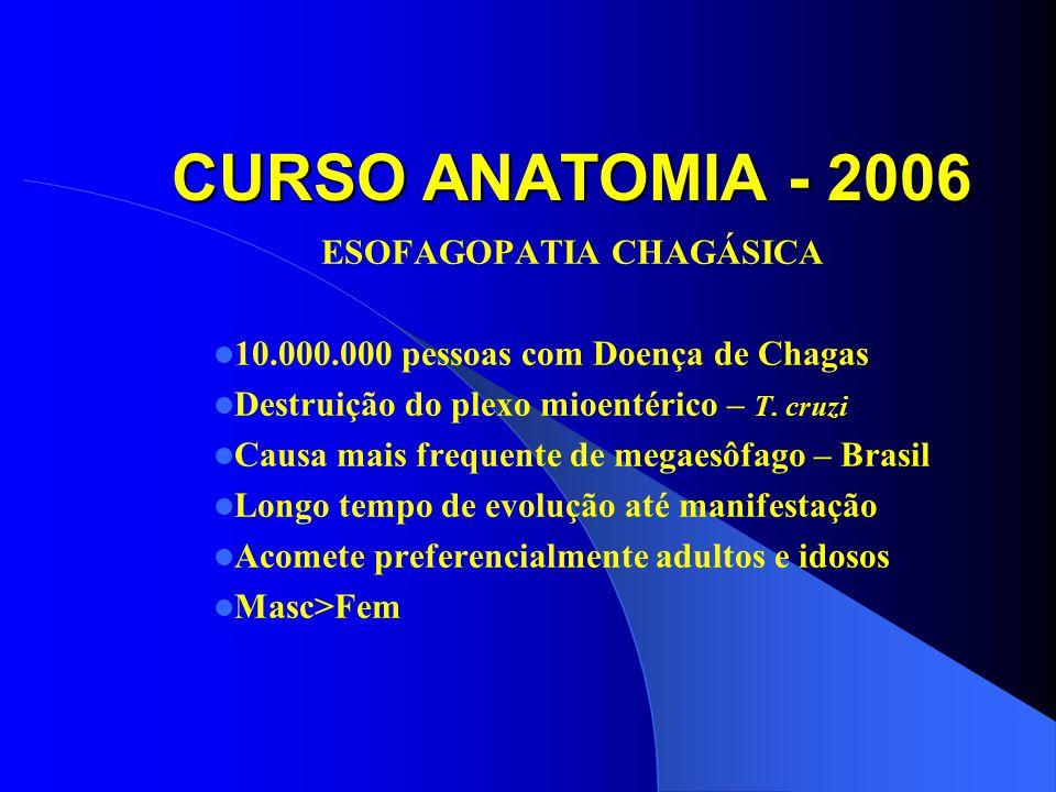CURSO ANATOMIA - 2006 ESOFAGOPATIA CHAGÁSICA 10.000.000 pessoas com Doença de Chagas Destruição do plexo mioentérico – T.