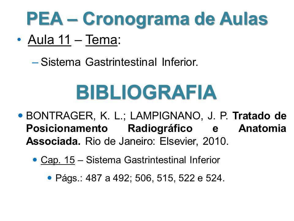 PEA – Cronograma de Aulas Aula 11 – Tema: –Sistema Gastrintestinal Inferior. BIBLIOGRAFIA BONTRAGER, K. L.; LAMPIGNANO, J. P. Tratado de Posicionament
