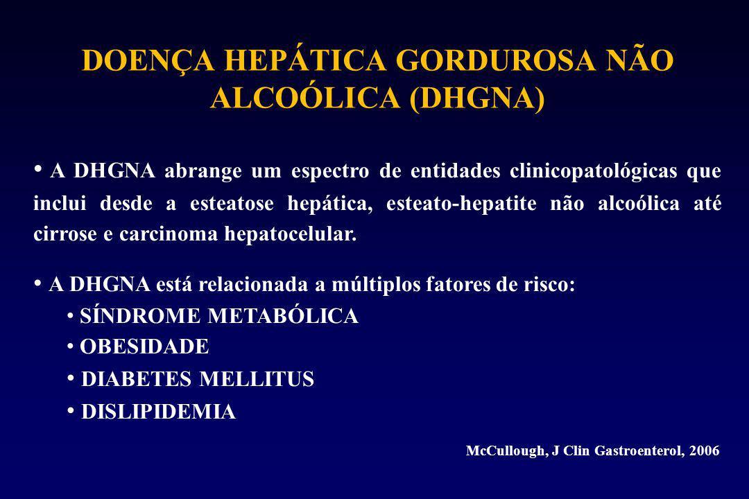 DOENÇA HEPÁTICA GORDUROSA NÃO ALCOÓLICA (DHGNA) A DHGNA abrange um espectro de entidades clinicopatológicas que inclui desde a esteatose hepática, esteato-hepatite não alcoólica até cirrose e carcinoma hepatocelular.