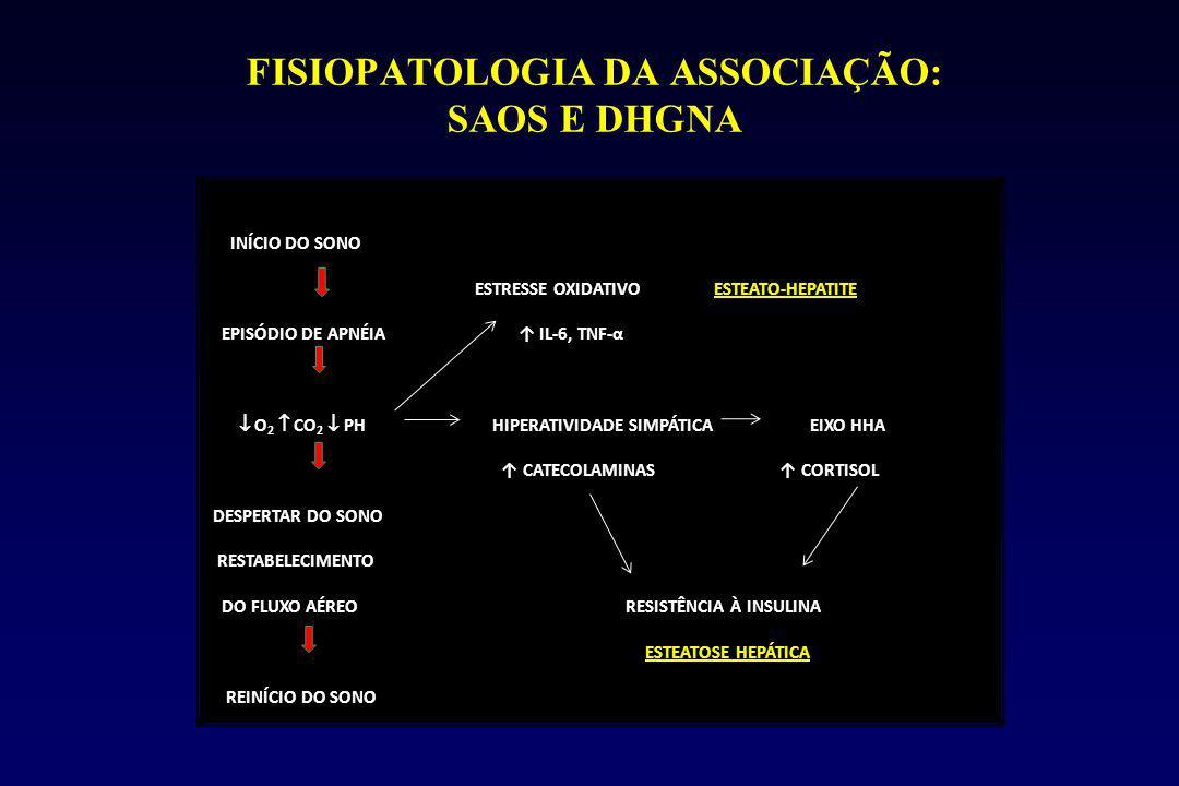 FISIOPATOLOGIA DA ASSOCIAÇÃO: SAOS E DHGNA INÍCIO DO SONO ESTRESSE OXIDATIVO ESTEATO-HEPATITE EPISÓDIO DE APNÉIA ↑ IL-6, TNF-α  O 2  CO 2  PH HIPERATIVIDADE SIMPÁTICA EIXO HHA ↑ CATECOLAMINAS ↑ CORTISOL DESPERTAR DO SONO RESTABELECIMENTO DO FLUXO AÉREO RESISTÊNCIA À INSULINA ESTEATOSE HEPÁTICA REINÍCIO DO SONO