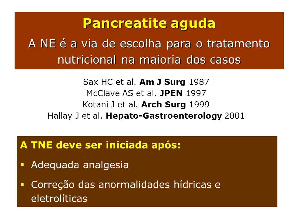 Pancreatite aguda A NE é a via de escolha para o tratamento nutricional na maioria dos casos Sax HC et al. Am J Surg 1987 McClave AS et al. JPEN 1997