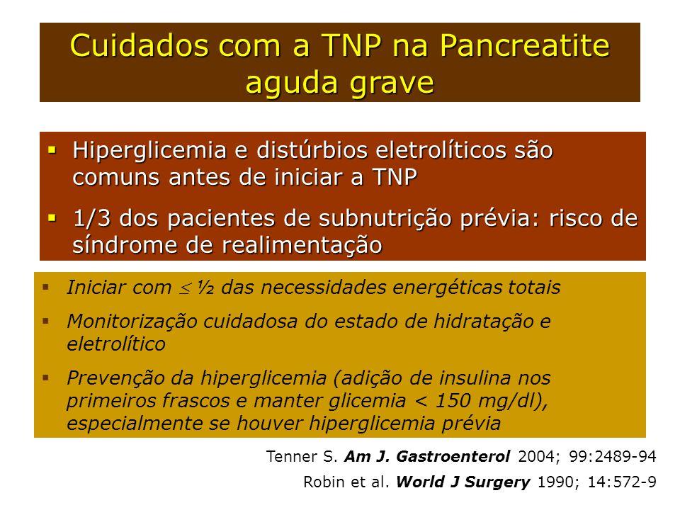  Hiperglicemia e distúrbios eletrolíticos são comuns antes de iniciar a TNP  1/3 dos pacientes de subnutrição prévia: risco de síndrome de realiment