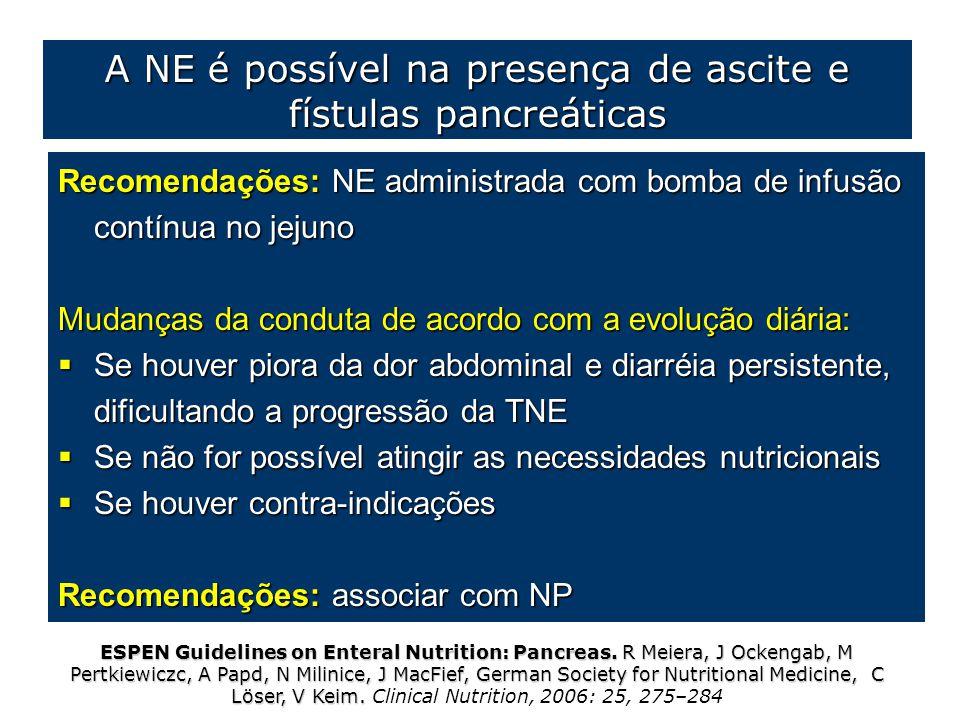 Recomendações: NE administrada com bomba de infusão contínua no jejuno Mudanças da conduta de acordo com a evolução diária:  Se houver piora da dor a