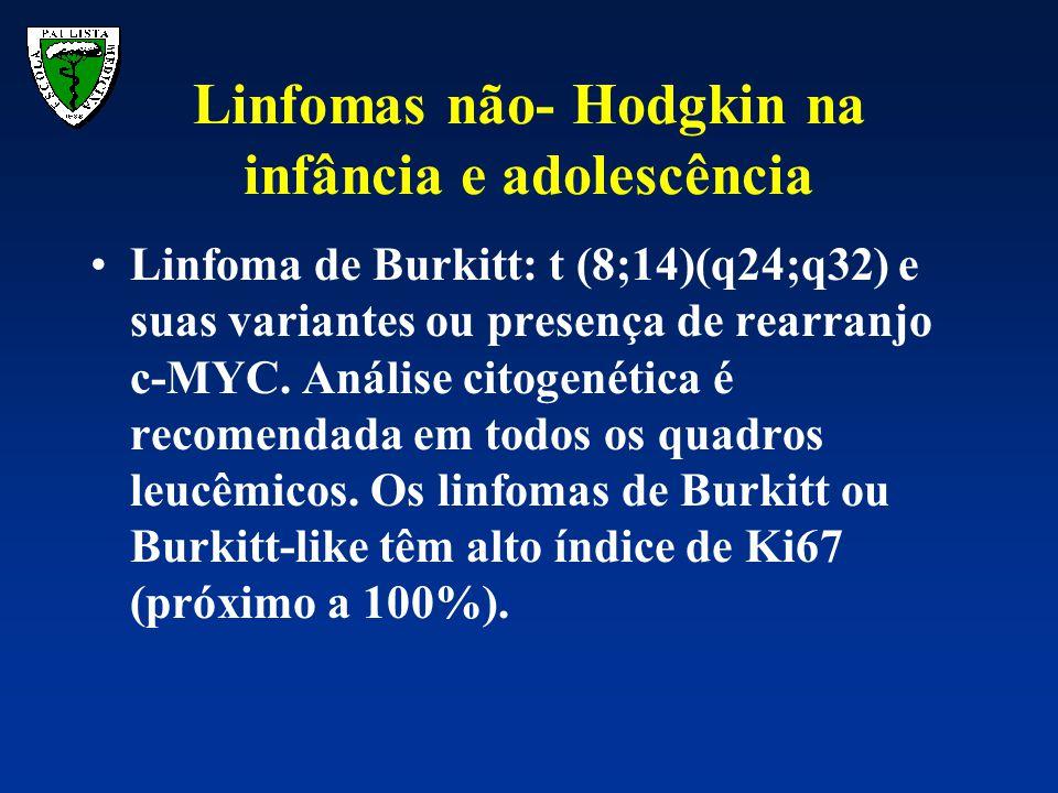 Linfoma de Burkitt: t (8;14)(q24;q32) e suas variantes ou presença de rearranjo c-MYC. Análise citogenética é recomendada em todos os quadros leucêmic
