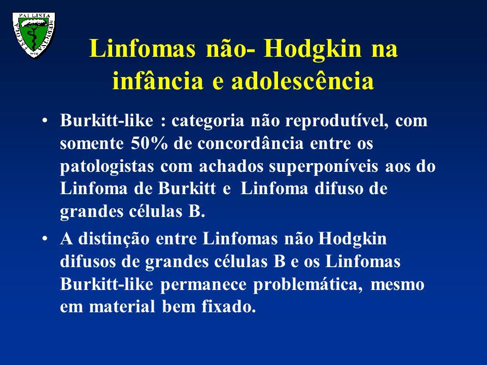 Linfomas não- Hodgkin na infância e adolescência Burkitt-like : categoria não reprodutível, com somente 50% de concordância entre os patologistas com