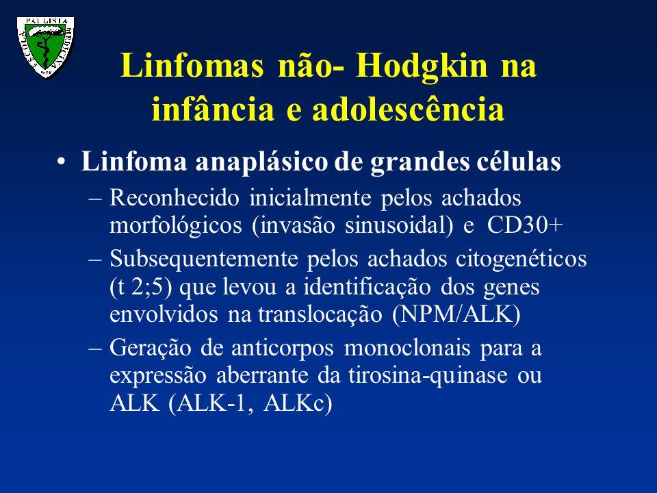 Linfoma anaplásico de grandes células –Reconhecido inicialmente pelos achados morfológicos (invasão sinusoidal) e CD30+ –Subsequentemente pelos achado