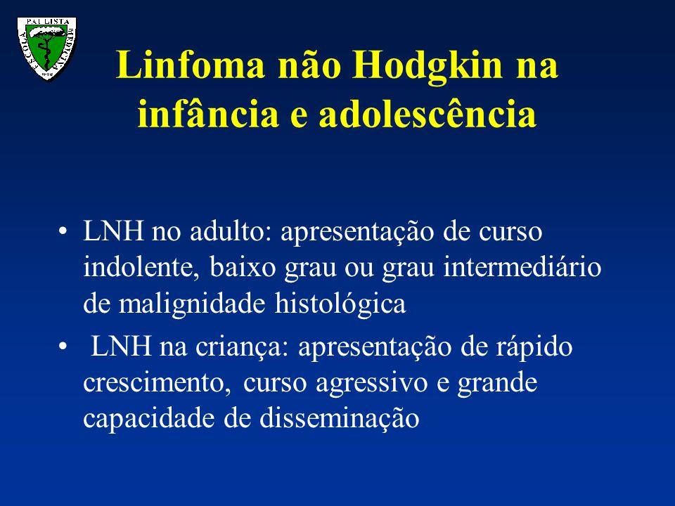 Linfoma não Hodgkin na infância e adolescência LNH no adulto: apresentação de curso indolente, baixo grau ou grau intermediário de malignidade histoló