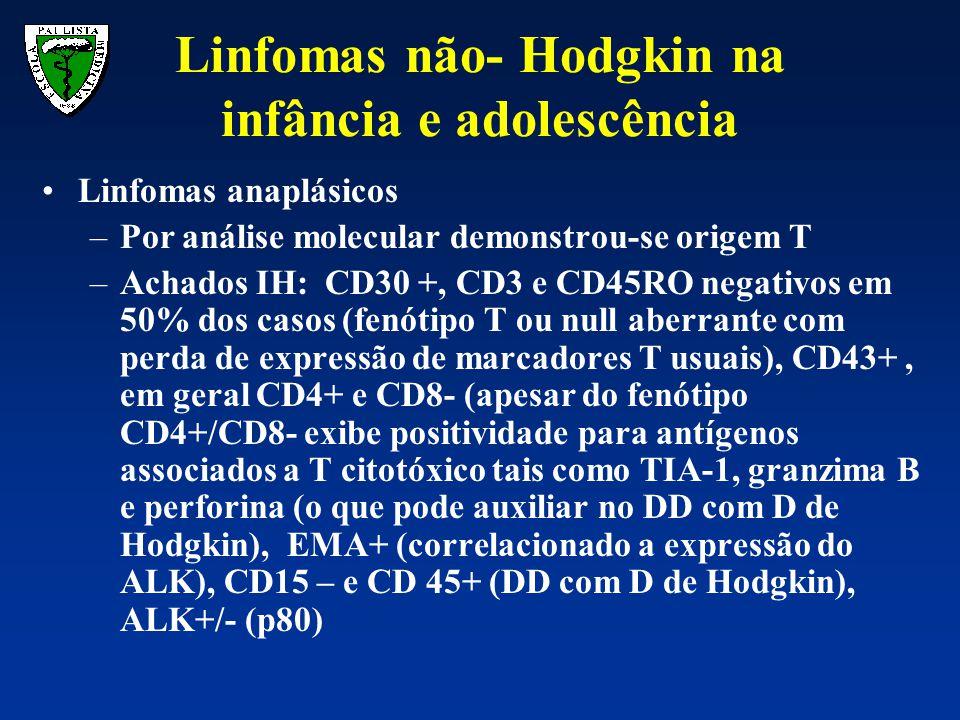 Linfomas anaplásicos –Por análise molecular demonstrou-se origem T –Achados IH: CD30 +, CD3 e CD45RO negativos em 50% dos casos (fenótipo T ou null ab