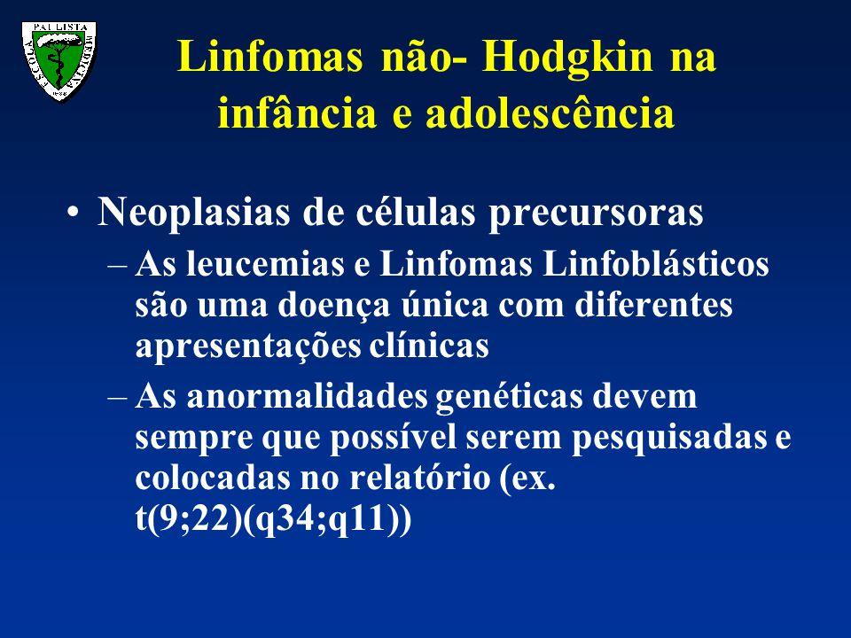 Neoplasias de células precursoras –As leucemias e Linfomas Linfoblásticos são uma doença única com diferentes apresentações clínicas –As anormalidades