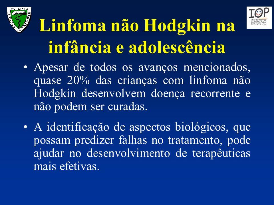 Linfoma não Hodgkin na infância e adolescência Apesar de todos os avanços mencionados, quase 20% das crianças com linfoma não Hodgkin desenvolvem doen