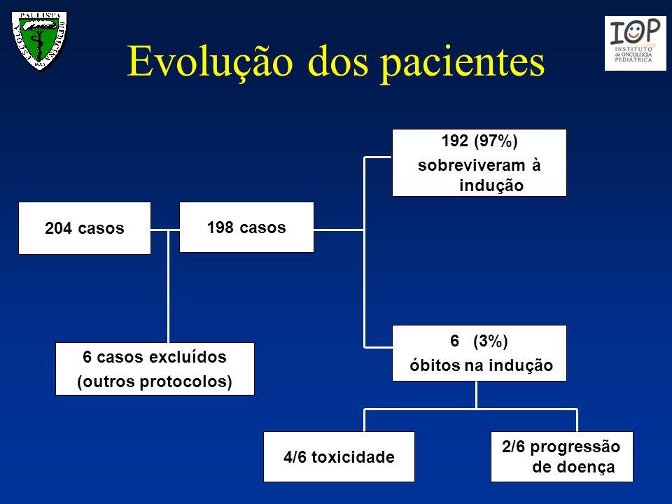 Evolução dos pacientes 204 casos 198 casos 192 (97%) sobreviveram à indução 6 (3%) óbitos na indução 6 casos excluídos (outros protocolos) 4/6 toxicid