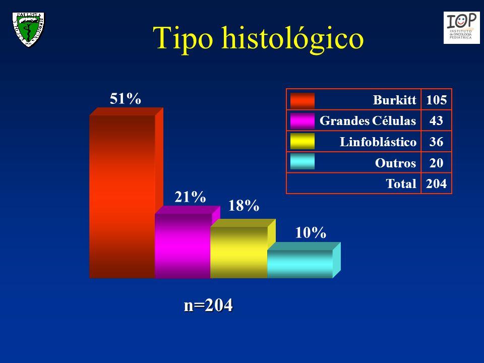 Tipo histológico 10% 51% 21% 18% Burkitt105 Grandes Células43 Linfoblástico36 Outros20 Total204 n=204