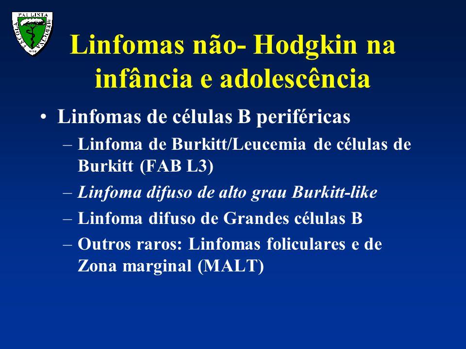 Linfoma de Burkitt: –WF: Pequenas células não clivadas –WHO/REAL: Linfoma de células B periféricas de tipo Burkitt –Incidência: 40% dos LNH na infância, 3 a 4 % de todas as neoplasias pediátricas diagnosticadas por ano nos EUA (Cairo & Perkins 2000) Linfomas não- Hodgkin na infância e adolescência